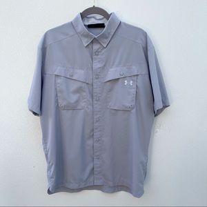 UnderArmour heat gear button up shirt large gray